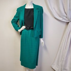 Vtg PENDLETON Wool Skirt Suit Windowpane Plaid